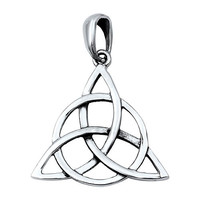 "Sterling Silver Wicca Circle Triquetra Pendant 22MM (Free 18"" Chain)"