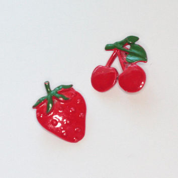 Enameled Red Cherry and Strawberry Scatter Pins Vintage Fruit Pins Brooches