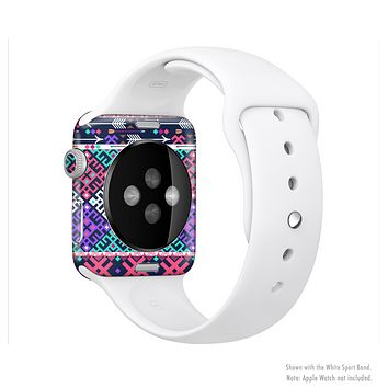 The Pink & Teal Modern Colored Aztec Pattern Full-Body Skin Kit for the Apple Watch