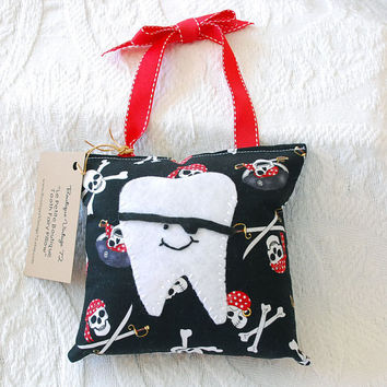 Boys Tooth Fairy Pillow in Black and Red by boutiquevintage72