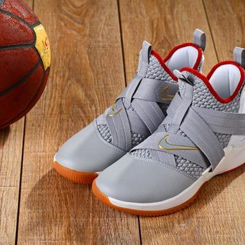 Nike LeBron Soldier 12 Gray White Red Sneakers - Best Deal Online