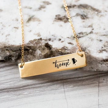 Home is Rhode Island Gold / Silver Bar Necklace
