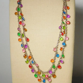 Long Beaded Chain Necklace 50 Inches Colorful Dangling Beads Chain Green Pink Purple Red Brown Orange Plastic Pronged Mardi Gras Boho Bling
