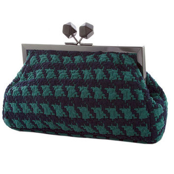 Teal Vintage Style Houndstooth Large Clutch