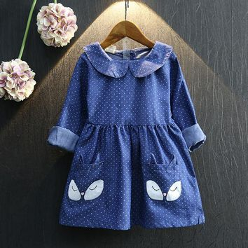 Girl Dress cotton winter Sleeve Cute Toddlers