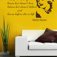 Vinyl Decals Marilyn Monroe Wise Girl Quote Home Wall  Decor Removable Sticker Mural L604  Unique Design Bed Room Office