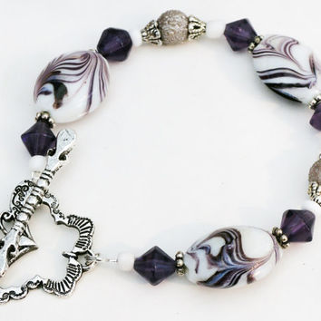 Purple, White, and Silver Beaded Bangle Bracelet with Large Butterfly Bar and Ring Clasp Handmade by Lindsey - Butterfly Clasp -Grape Purple