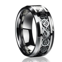 Men's Dragon Tungsten Carbide Ring Jewelry Wedding Band Silver Sizes 7/8/9/10/11/12