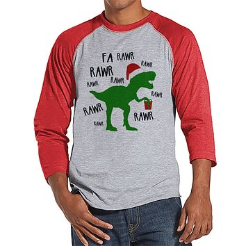 Dinosaur Christmas Shirt - Funny Men's Christmas Shirt - Men's Baseball Tee - Red Raglan Shirt - T Rex Christmas Shirt - Funny Dinosaur Top
