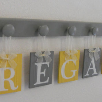 Custom Baby Nursery Girl Rooms Hanging Ribbon Letter Name Plates Personalized for REGAN with 5 Grey Wood Pegs Yellow / Gray Kids Shower Gift