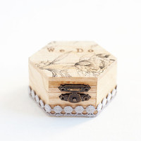 """Small hexahedral rustic style wedding ring box with flower """"We Do"""" - Natural wood, ring bearer, rustic, wedding box, ring box, lace trim"""