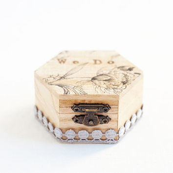 "Small hexahedral rustic style wedding ring box with flower ""We Do"" - Natural wood, ring bearer, rustic, wedding box, ring box, lace trim"