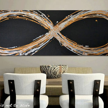 "MASSIVE 48"" Infinity Symbol Art - Original Abstract Acrylic Canvas Modern Painting - Gold, Silver, Black: HUGE 48 x 16"