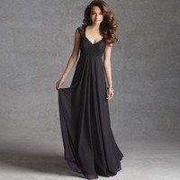 Black Chiffon V-Neck Lace Gown