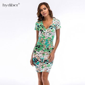Women Summer Dresses V-Neck Vestidos Vintage Floral Print Cocktail Party Bodycon Pencil Dress 2018 New Work Wear Clothes