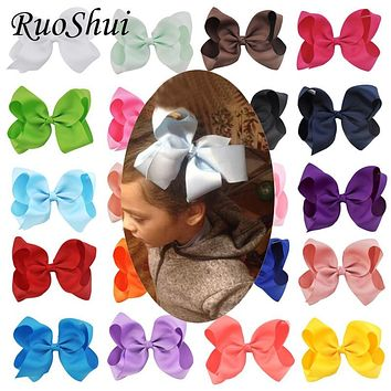 Fashion 6 Inch Cute Boutique Grosgrain Ribbon Bows Children Hairpins Little Girl Bows Hair Clips Kids Headwear Hair Accessories