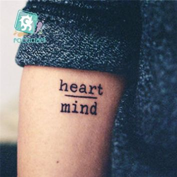Rocooart HC1113 Waterproof Temporary Tattoo Stickers Courage Fear Heart Mind Letters Design Water Transfer Harajuku Fake Tattoo