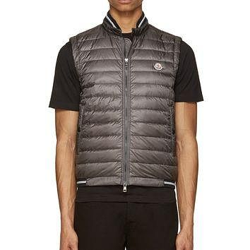 Moncler Grey Quilted And Knit Vest