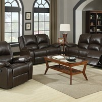 A.M.B. Furniture & Design :: Living room furniture :: Sofas and Sets :: Motion sofa sets :: 2 pc Boston collection Brown leather like vinyl Sofa with recliner ends and love seat with recliner ends