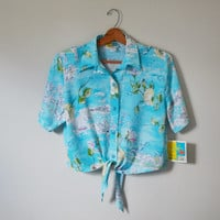 Vintage 80s Shirt Tropical Print Shirt Button up Crop Top Shirt Nautical Shirt Florida Vacation Shirt Size Medium New With Tags