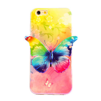 I6 New Woman Design Cute 3D Butterfly Soft TPU Case For iPhone 6 5.5'' Colorful Skin phone Bag Case Protect Back Cover