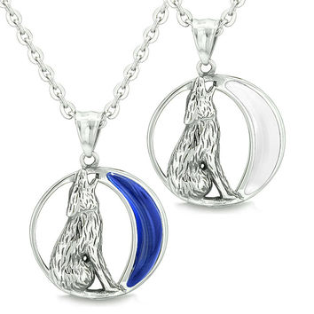 Amulets Love Couple Howling Wolf Wild Moon Powers Midnight Blue White Simulated Cats Eye Necklaces