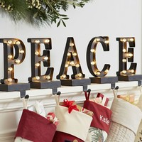 Lit Bronze Word Stocking Holder - Peace