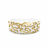 "Anneline Sophia ""Squiggles in Gold"" Yellow White Pet Bowl"