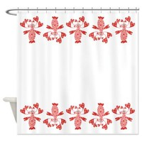 Pink Polka Dot Heart Girl Border Shower Curtain> Catch All Shower Curtains> Shower Curtains