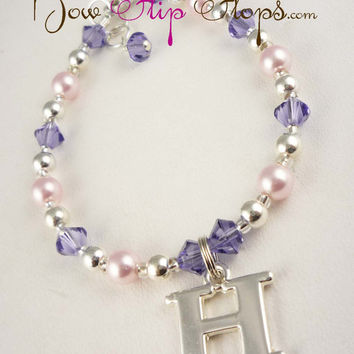 Initial Boutique Personalized Charm Bracelet Swarovski Crystal Pearl for Baby Toddler and Girls, choose your colors
