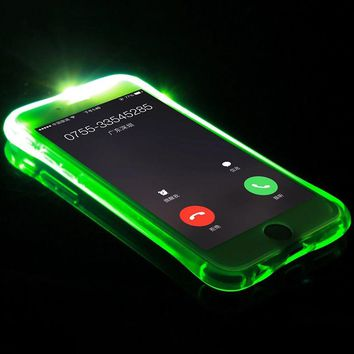 For iPhone 7 Case 5 5S LED Flash Light Soft TPU Up Remind Incoming Call