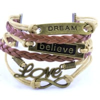 Women's Brown Multilayer Bracelet - Dream - Love - Believe - Infinity