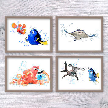 Disney Dory, Dory Print, Finding Dory, Dory Watercolor, Dory Wall, Finding Nemo, set of 4, Dory Nursery, Nemo baby, Mr.Ray, Nemo Anchor V104