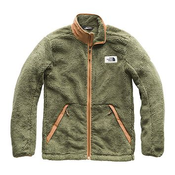 Men's Campshire Full Zip Sherpa Fleece in Four Leaf Clover & Cargo Khaki by The North Face