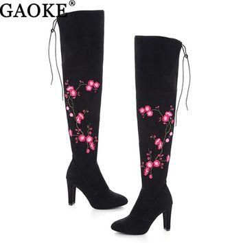 Embroidery Flower Boots Autumn Winter Boots Fashion Lady High Heel Long Boots Embroide