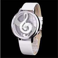 MP Women's Musical Note Casual Watch with PU Belt 050228 Color White XDP 0617