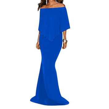Royal Blue Off Shoulder Overlay Ruffle Long Evening Dress
