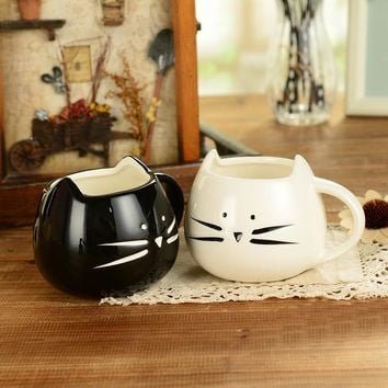 400ml Lovely Cute cat design coffee mug ceramic black and white kawaii Cat lovers mugs breakfast milk mug Tea mug Juice cup