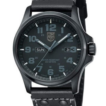 Luminox Atacama Field Mens Blackout Day Date Strap Watch - PVD Case - 200M WR