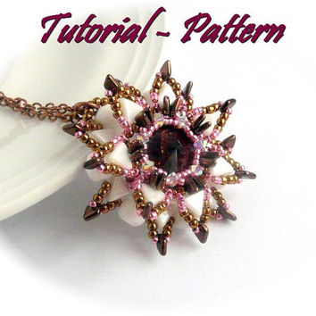 Beading pattern of beaded flower pendant Relinda - PDF instructions, step by step
