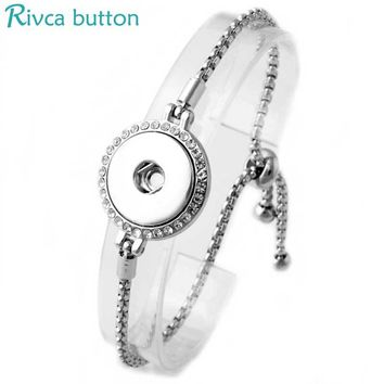 6Pcs/lot Adjustable Snap Button Bracelet 18mm Metal Snap Button Charms Chain Bracelets For Women Snap Buttons Jewelry P00975