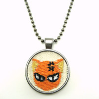 Cat  Necklace Embroidered Necklace Embroidered Jewelry Cat Jewelry  , Kyo Necklace , Anime Cat Necklace  Unisex Necklace Cosplay Necklace