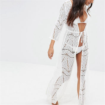 New Arrivals Sexy Beach Cover up Crochet White Swimwear Dress Ladies Tunics for Beach Kaftan Women Beachwear Saida de Praia #Q35