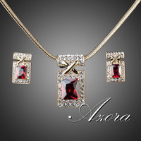 18K Real Gold Plated Unique Design with Dark Red Cubic Zirconia Earrings and Necklace Jewelry Set