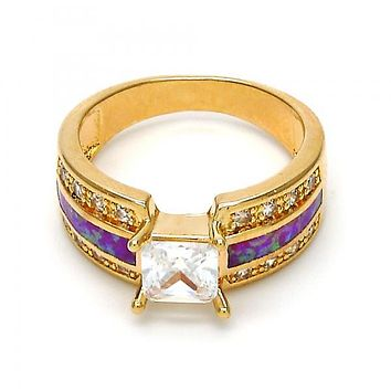 Gold Layered Mult-stone Ring, with Cubic Zirconia and Opal, Golden Tone