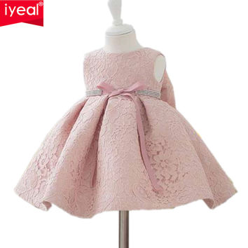 Newest Infant Baby Girl Birthday Party Dresses Baptism Christening Easter Gown Toddler Princess Lace Flower Dress for 0-2 Years