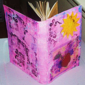 Handmade Art Journal, Book, Diary, Altered Journal, Converted Sample Book, Various Pages, Apple, Sun, Painted Cover
