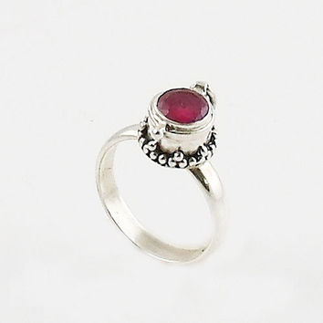 Ruby Sterling Silver Poison Ring