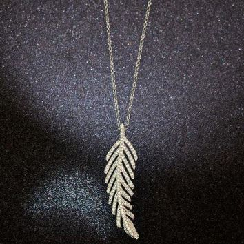 DCCKNQ2 Tiffany Women Fashion Feather Plated Necklace Jewelry