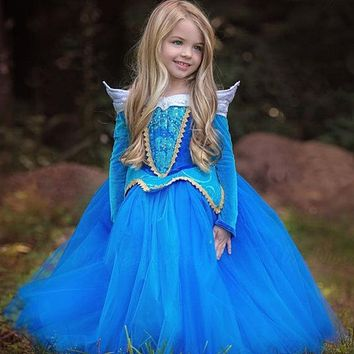 2018 Girls Sleeping Beauty Princess Costume Spring Autumn Girl Dress Pink Blue Princess Aurora Dresses for Girls Party Costume